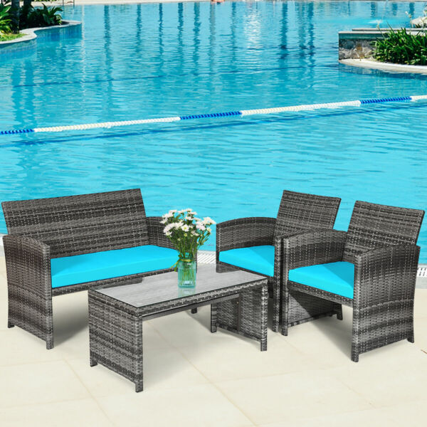 4PCS Outdoor Patio Furniture Set Rattan Wicker Conversation Sofa Set W Cushions