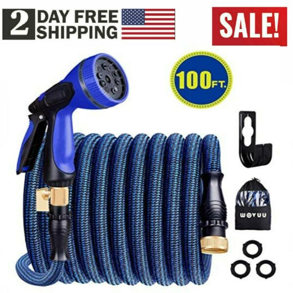 100FT Expandable Garden Hose Flexible Lightweight Water Hose with 9 Functions
