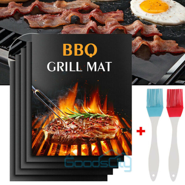 5 BBQ Copper Grill Mats Baking Mats Non Stick Mat Pad Bake Cooking Sheet Liner