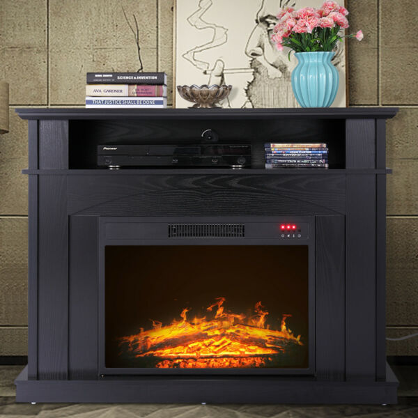 Media Fireplace TV Stand 41quot; Entertainment Storage Wood Console Electric Heater