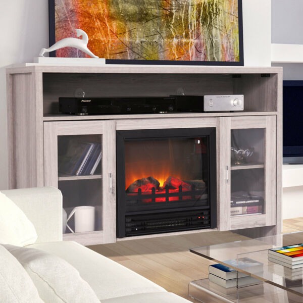 Media Fireplace TV Stand 43quot; Entertainment Storage Wood Console Electric Heater