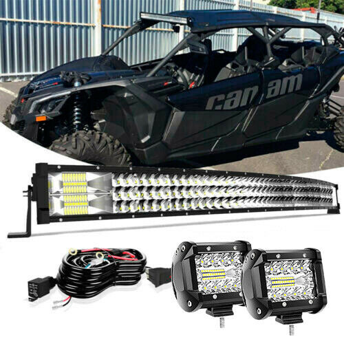 For Can Am Maverick X3 MAX Turbo 42quot; Curved LED Light Bar Roof 4#x27;#x27; Cube Pods $85.48