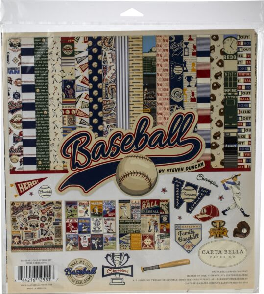 Echo Park Paper Carta Bella Collection Kit 12quot;X12quot; Baseball