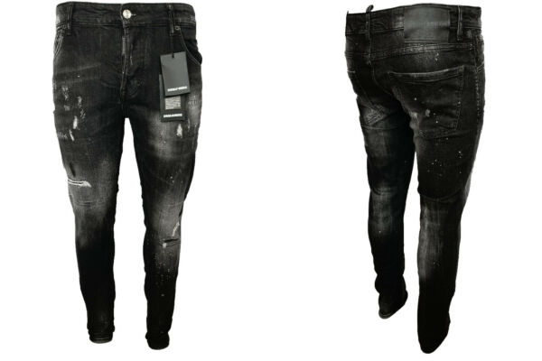 New DSQUARED2 Jeans D2 Cotton Patchs Painted Sexy Fit Made in Italy Black Sizes $69.90