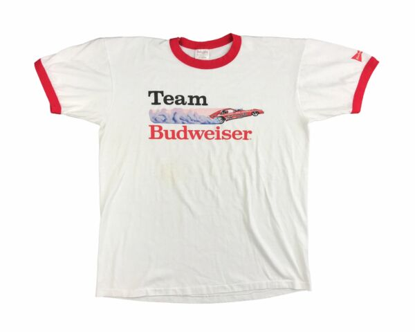 Vintage Team Budweiser Shirt 80s Drag Racing Ringer T Beer V7