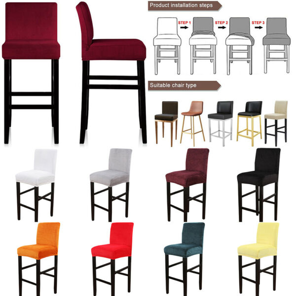 Stretch Velvet Counter Stool Chair Covers Height Barstool Dining Chair Slipcover $8.99