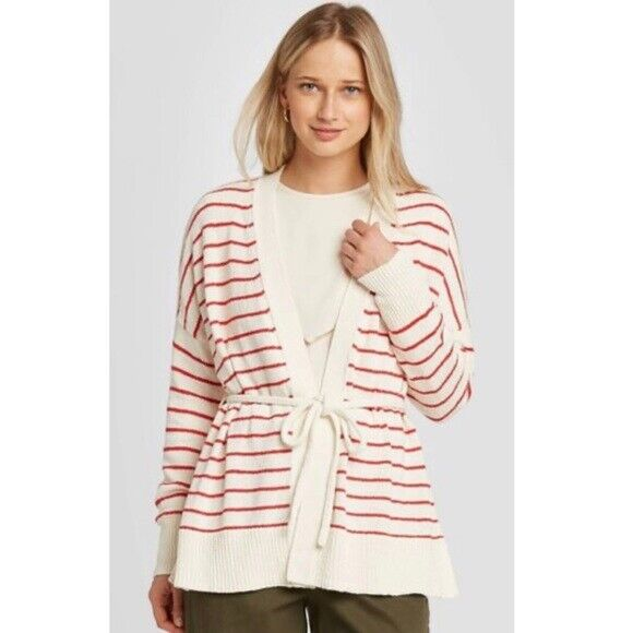 Who What Wear Striped Red White Wrap Cardigan Sweater MEDIUM LARGE XS #a25 $11.99