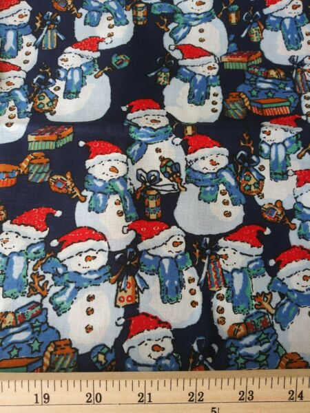 CHRISTMAS SILLY SNOWMEN Fabric by the half Yard 100% Cotton 44 45quot;