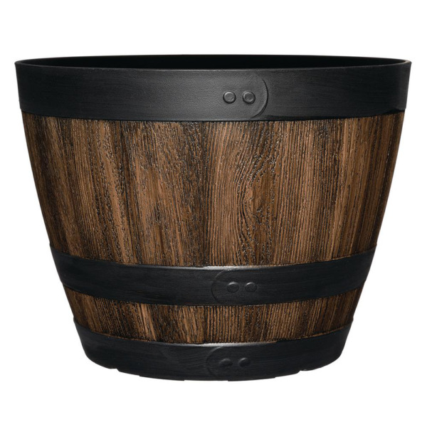 11.33 Inch Resin Barrel Planter Indoor Outdoor Large Flower Plant Pot Garden $13.47