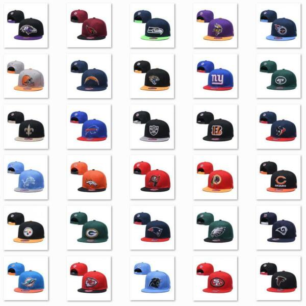 Classic Embroidered NFL Flat Brim Hip Hop Cap Snap back Sports Hat For Unisex