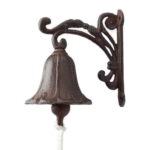Vine Dinner Bell Cast Iron Wall Mount Antique Style Rustic Finish Scrolls $17.95