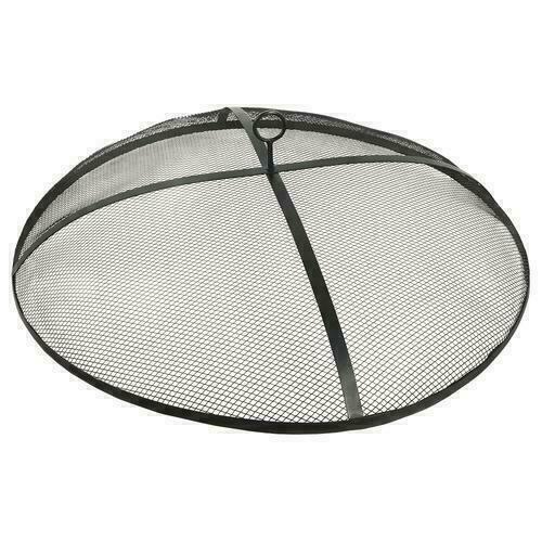 31quot; Black Round Steel Fire Pit Spark Screen Outdoor Wood Burning Mesh Cover $69.99
