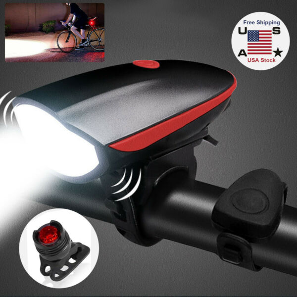 USB Rechargeable Mountain Bike Lights Bicycle Torch Horn Front amp; Rear Lamp Set $13.99