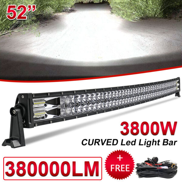 52 INCH 3800W CURVED LED LIGHT BAR DRIVING OFF ROAD SPOT FLOOD BEAM ROOF SUV 54quot; $119.99