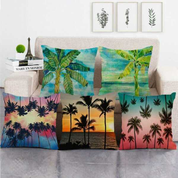 Hawaiian Palm Tree Throw Pillow Case Linen Couch Sofa Bed Square Cushion Covers $3.09