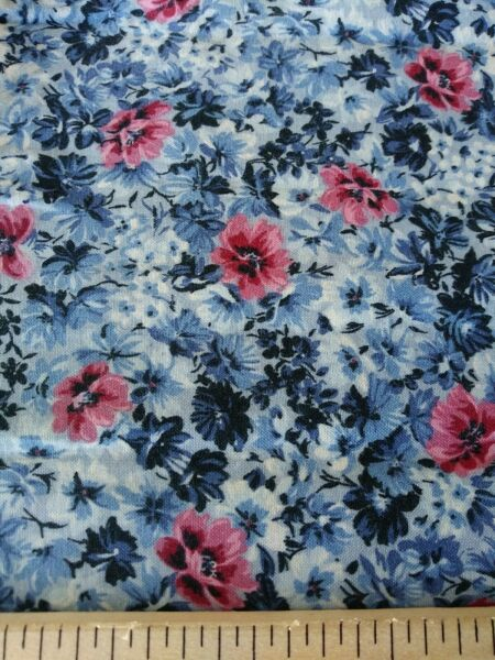 PINK BLUE ROSES 100% cotton fabric by half yard **FREE SHIPPING*