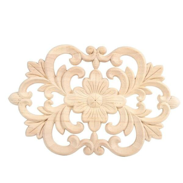 1Pc Wood Carved Onlay Applique Unpainted Furniture for Home Door Cabinet Decor $6.62