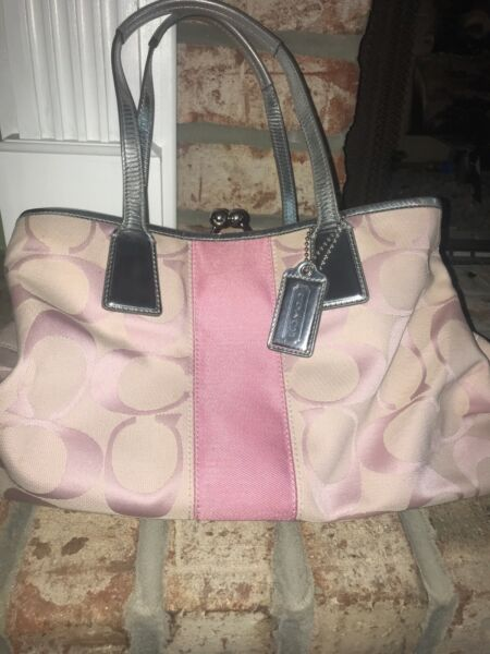 Authentic Coach Women's Designer bag pink with silver accent and silver straps $17.99