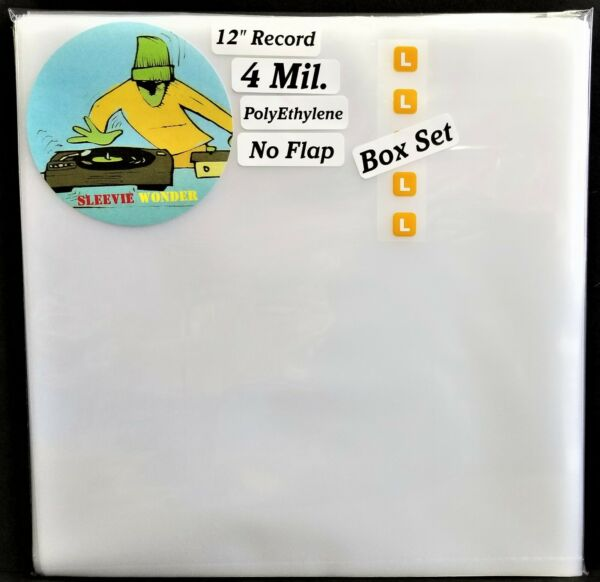 5 Large Box Set Outer Sleeves 4mil No Flap Covers for 12quot; LP Vinyl Record Album