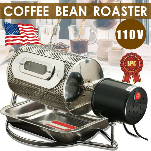 110V Coffee Beans Roasting Machine Home Electric Coffee Roaster Stainless Steel
