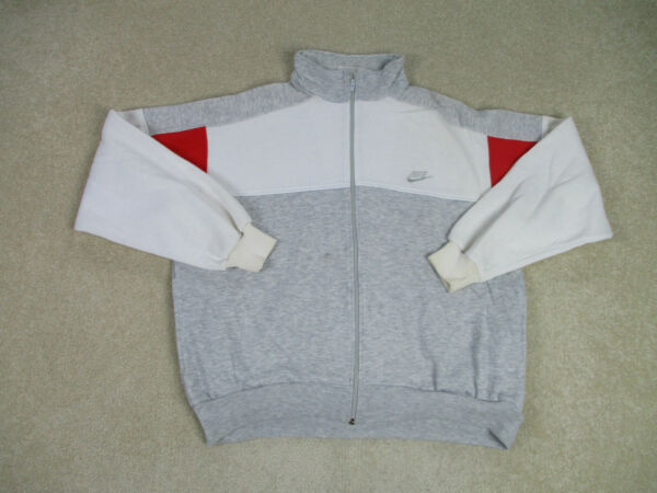 VINTAGE Nike Sweater Adult Large Gray Red Swoosh Spell Out Full Zip Men 90s A00* $23.10