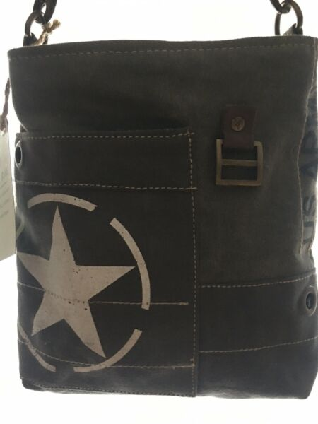 Clea Ray US Army Handbag NEW. Handcrafted Using Repurposed Canvas Military Tents