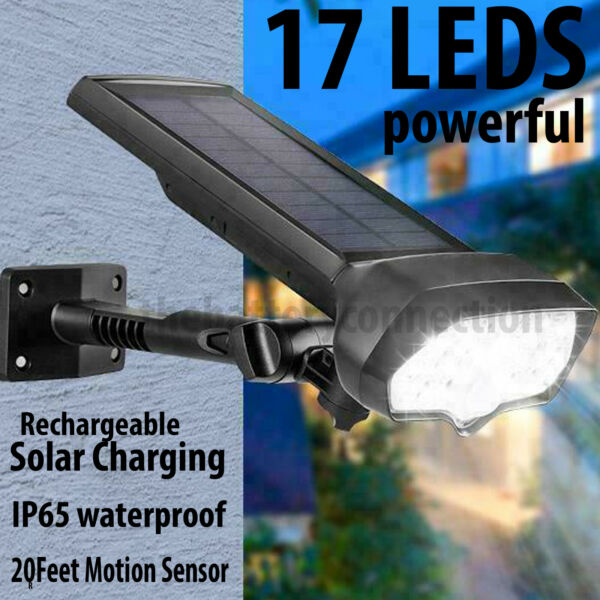 LED Solar Flood Light Motion Sensor Security Spot Wall Street Yard Outdoor Lamp $21.95