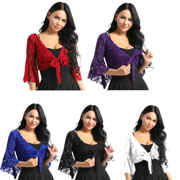 US Women#x27;s Bell 3 4 Length Flare Sleeves Front Tie Lace Bolero Cropped Shrug Top $9.95