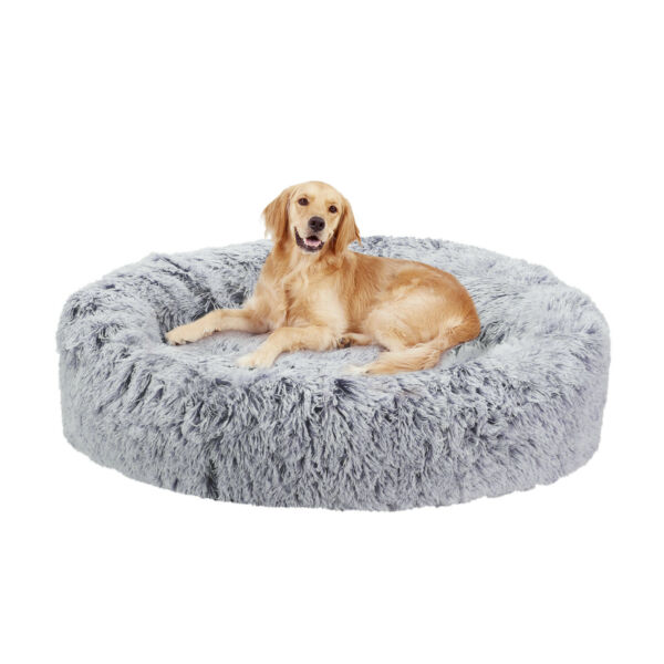 Jumbo Calming Donut Dog Bed Faux Fur Cuddler Round Non Slip Indoor Cat Soft Bed $55.93