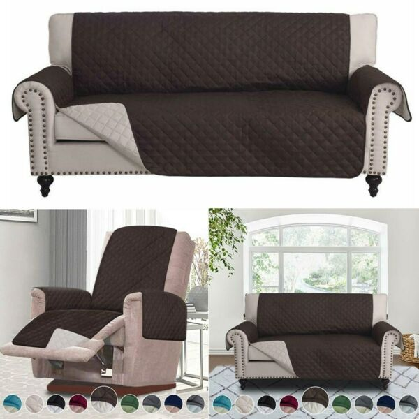 Chocolate Slipcover Sofa Cover Couch Chair Loveseat Protector Furniture Pet Mat $21.99