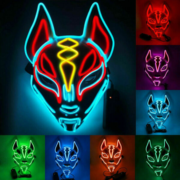 Halloween Scary Glow Mask LED Light Up Costume Purge Party Fortnite Mask Cosplay