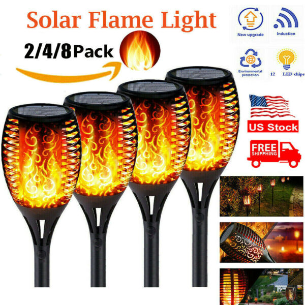 Outdoor Solar Garden Flame 12LED Light Flickering Torch Lamp Waterproof 2 6 Pack