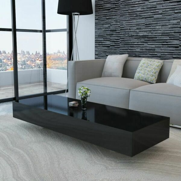 US Home Coffee Table High Gloss Black Accent Tea Side Living Room Furniture