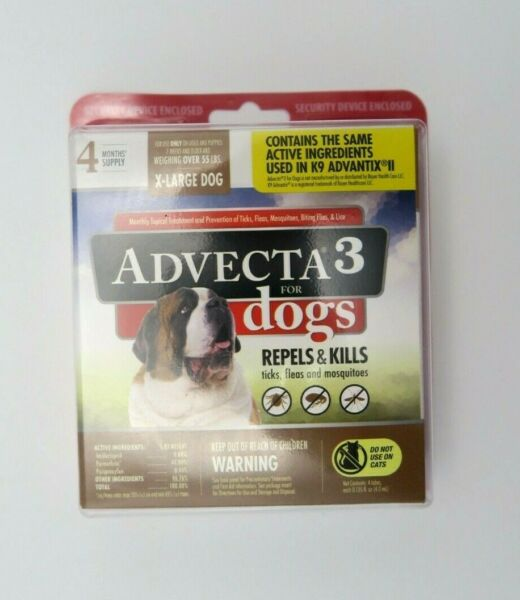 Advecta3 for Dogs 4 Month Supply Spot On XL Over 55 lbs. Repels Kills Fleas New $19.99