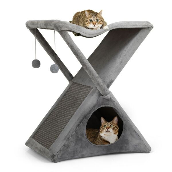 26#x27;#x27; Cat Tree Tower Foldable Pet House W Scratching Post Kitty Tree Cat Condos $33.99