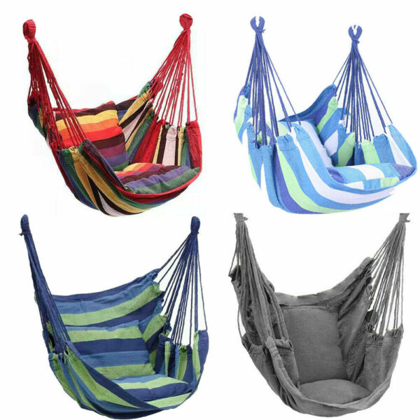 Deluxe Hanging Rope Chair Porch Swing Yard Garden Patio Hammock Cotton Outdoor $21.85