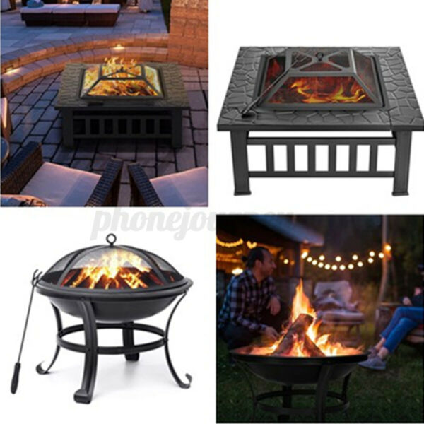 Round Square Metal Fire Pit Outdoor Patio Garden Backyard Stove Firepit Brazier