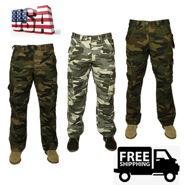 Men#x27;s Woodland Camouflage Uniform Military Tactical Style Pants Polyester Winter