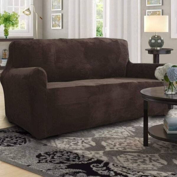 Chocolate Velvet Stretch Furniture Chair Sofa Loveseat Cover Pet Kids Slipcover $28.49
