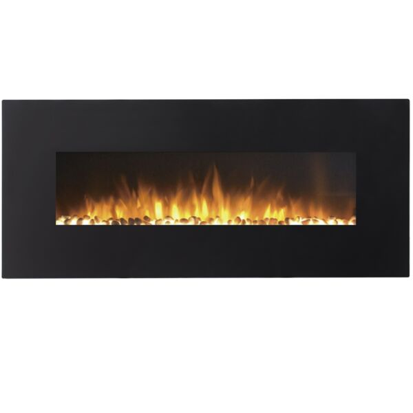 Regal Flame 50 Inch Pebble Electric Wall Mounted Fireplace in Black