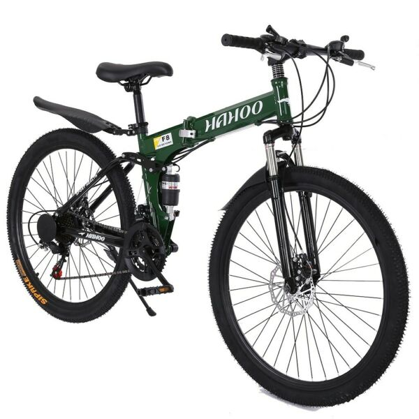 Folding Mountain Bike 26quot; Full Suspension Bicycle 21 Speed MTB Mens Bikes Green $168.88