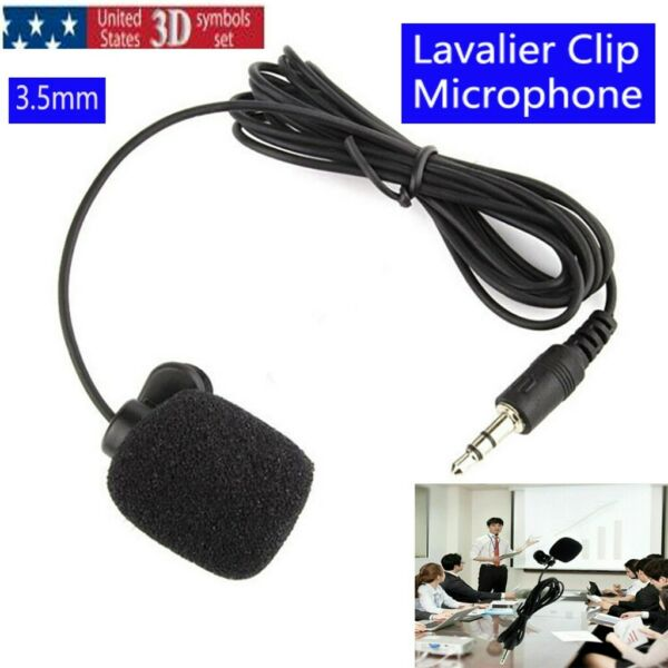 3.5mm Clip on Lapel Mini Mic Microphone Hands free Portable for Phone PC Laptop $1.99