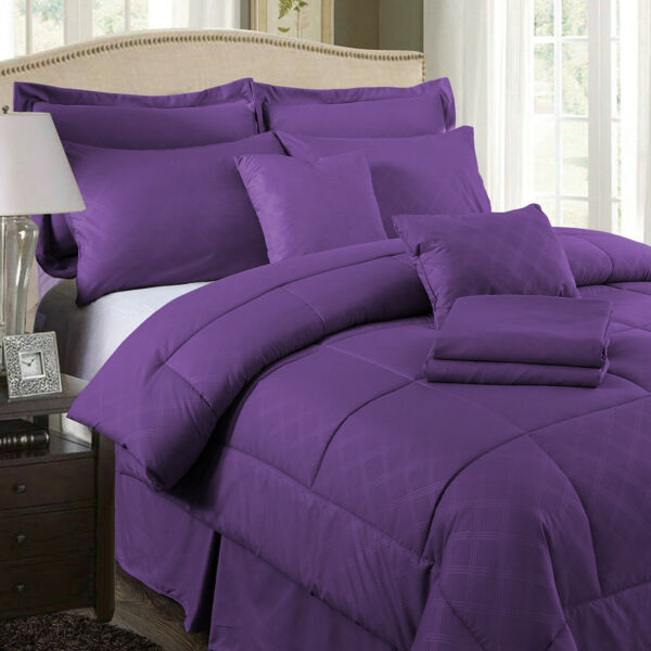 10 PCS Comforter Set All in One Thick Warm Purple Bed Sheet With Pillows Shams $73.99