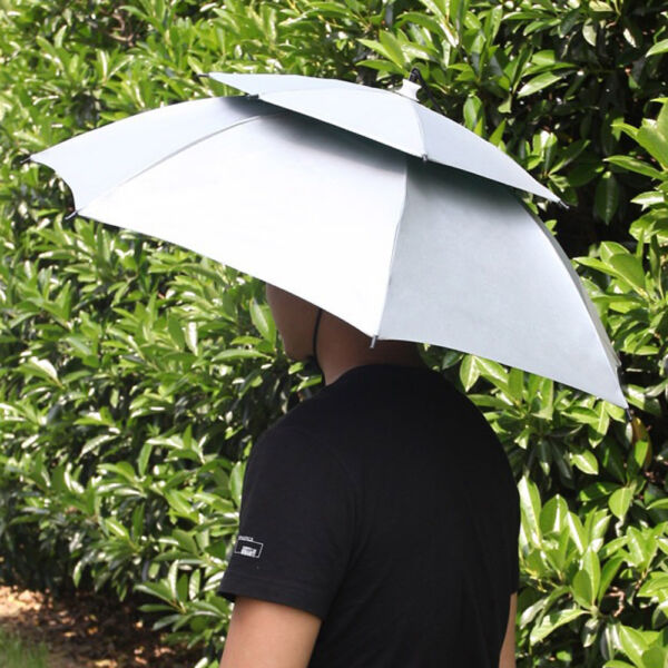 Outdoor Large Umbrella Cap 2 Layer Folding Sun Rain Hat Headwear for Fishing USA $9.99