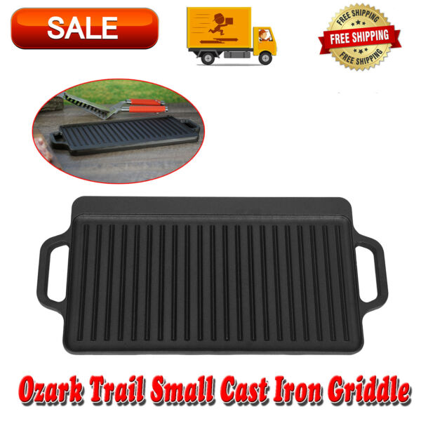 Reversible Cast Iron Grill Griddle Pan 20quot; x 8quot; Hamburger Steak Stove Top Fry