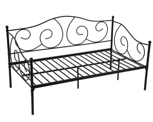 Metal Daybed Twin Bed Frame w Headboard Stable Steel Slats Support Box Spring $104.99
