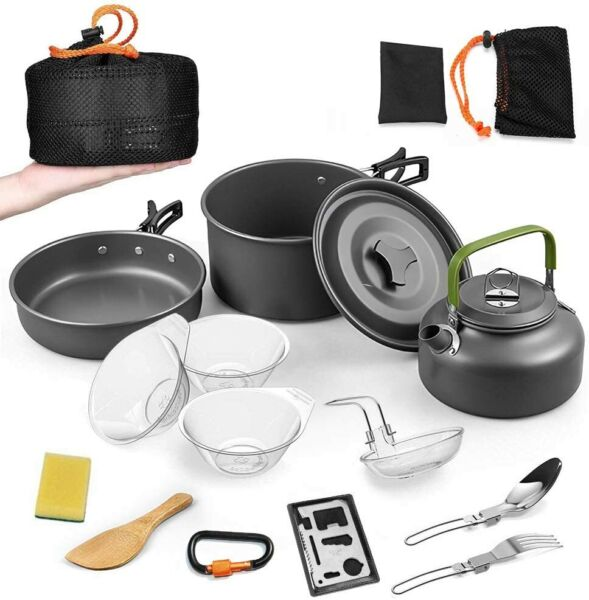 14Pieces Camping Cookware Sets Outdoor Cooking Portable Pots Pans Water Kettle