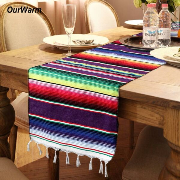 1 5 10x Mexican Table Runners Fringe Cotton Serape Blanket Fiesta Party Decor