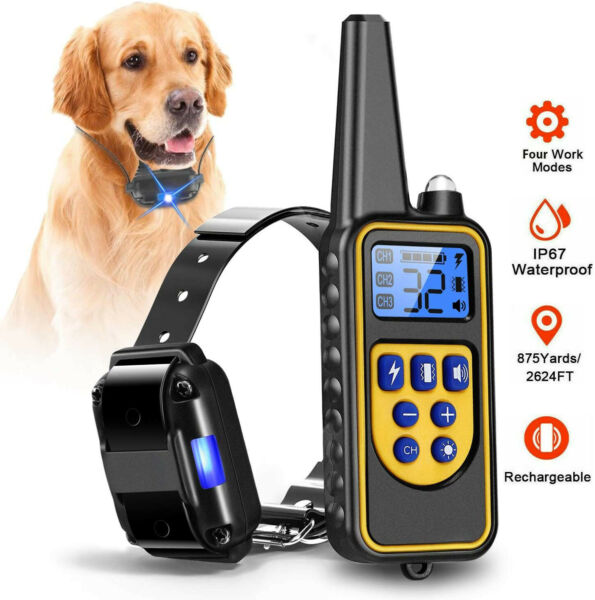 Dog Shock Collar W Remote Electric for Large Small Pet Training 880 Yards hunt $24.96