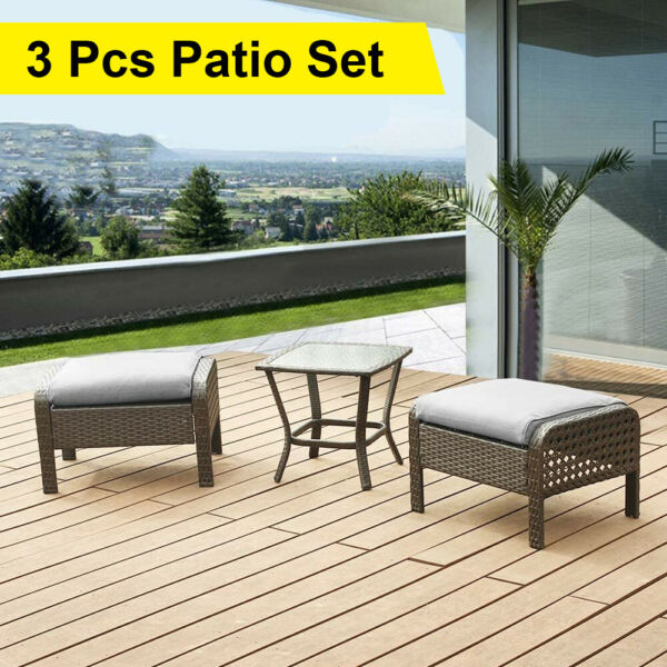Outdoor Patio Furniture Sets Rattan Wicker Sofa Ottoman Couch Chairs Table Gray $99.99